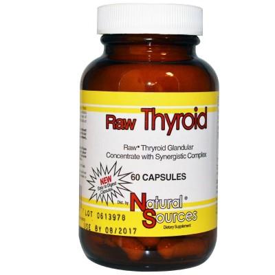 Concentrado glandular de tiroides cruda 60 cápsulas de Natural Sources Emerald Labs NSI-25260 Tiroides salud.bio