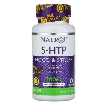 5-HTP Liberación prolongada, Potencia máxima, 200 mg, 30 Tabletas de Natrol Natrol NTL-05172 Estados emocionales, ansiedad, e...