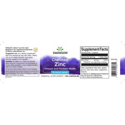 Zinc Quelado 30mg 100 Cápsulas de Swanson Swanson SWU065 Sistema inmunitario salud.bio