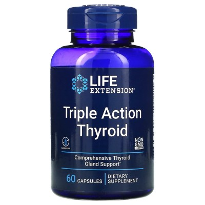 Suplemento de triple acción para la función tiroidea, 60 cápsulas de Life Extension LifeExtension LEX-20036 Tiroides salud.bio