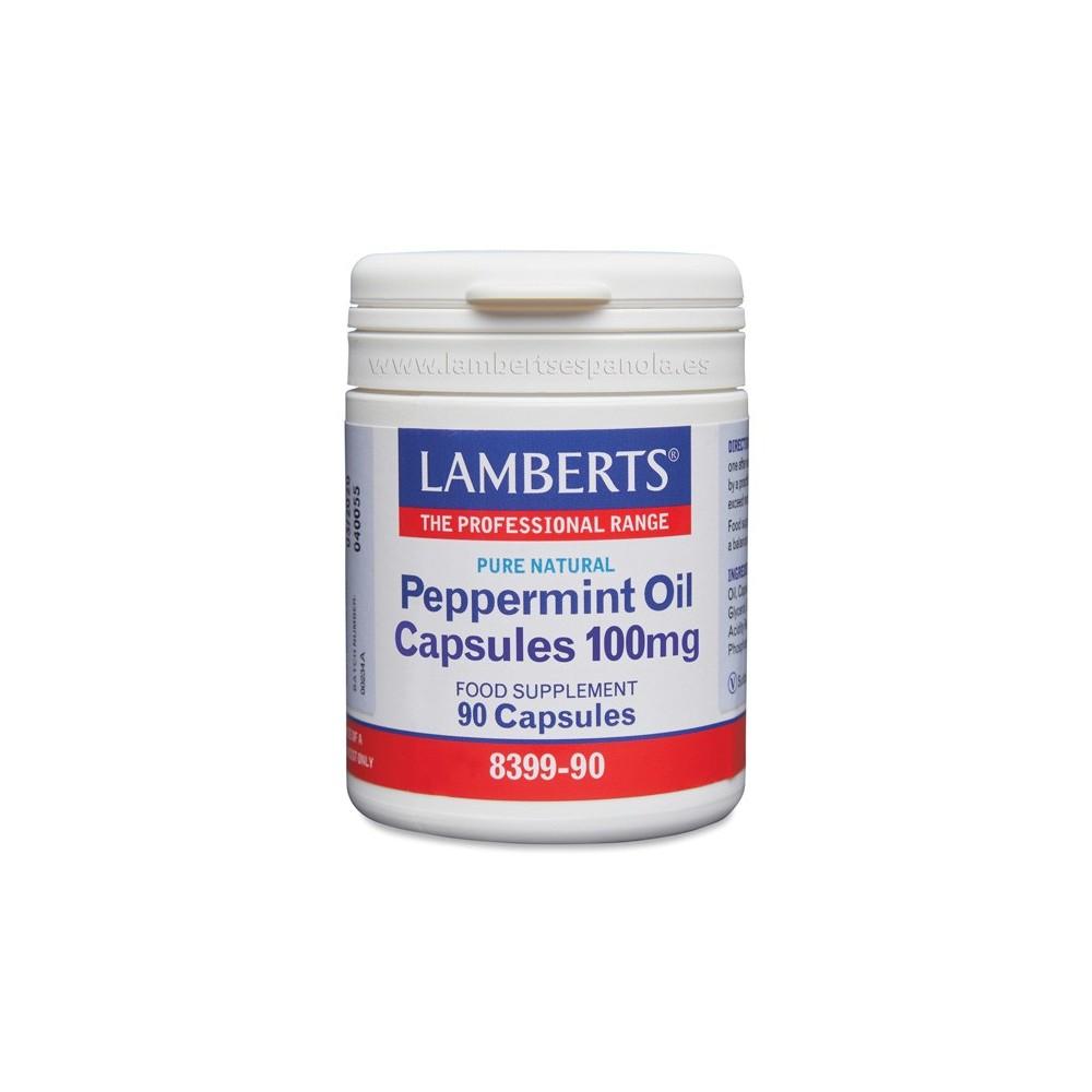 Aceite de Menta 100 mg Puro y Natural en cápsulas de Lamberts Lamberts Española S.L. 8399-90 Ayudas aparato Digestivo salud.bio