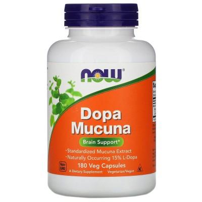 L-Dopa Mucuna, 180 cápsulas vegetales de Now Foods now suplementos NOW-03093 Estados emocionales, ansiedad, estrés, depresión...