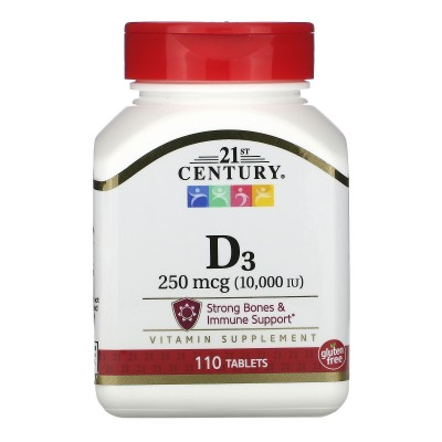 Vitamina D3, 250 mcg (10.000 UI), 110 comprimidos de 21st Century 21ST Century HealthCare CEN-27504 Vitaminas y Minerales sal...