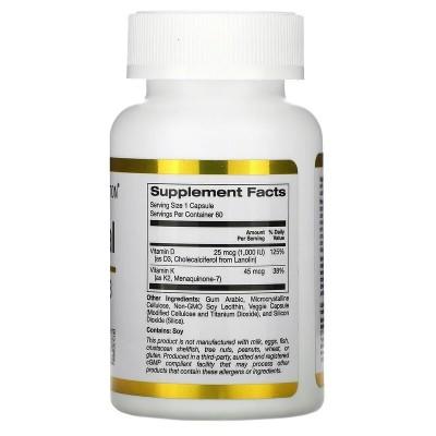 Vitaminas K2 y D3 liposomales, 60 cápsulas vegetales de California Gold Nutrition California Gold Nutrition CGN-01875 Vitamin...