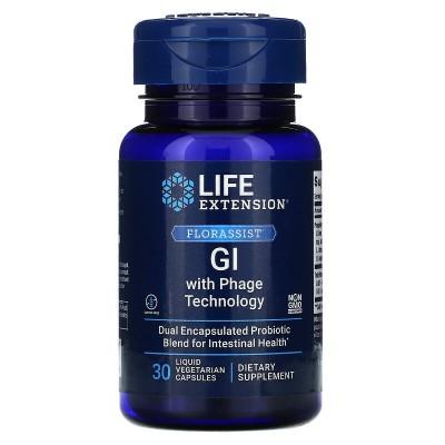 Suplemento gastrointestinal con tecnología de fagos FLORASSIST, 30 cápsulas vegetales líquidas de Life Extension LifeExtensio...
