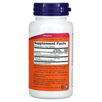 Vitamina D3 y vitamina K2, 120 cápsulas vegetales de Now Foods now suplementos NOW-00369 Vitamina A y D salud.bio