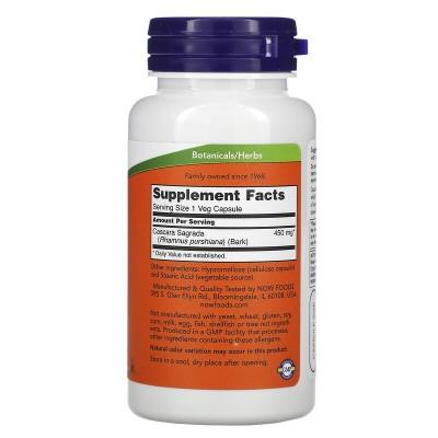 Cáscara Sagrada, 450 mg, 100 cápsulas vegetales de Now Foods now suplementos NOW-04620 Laxantes salud.bio