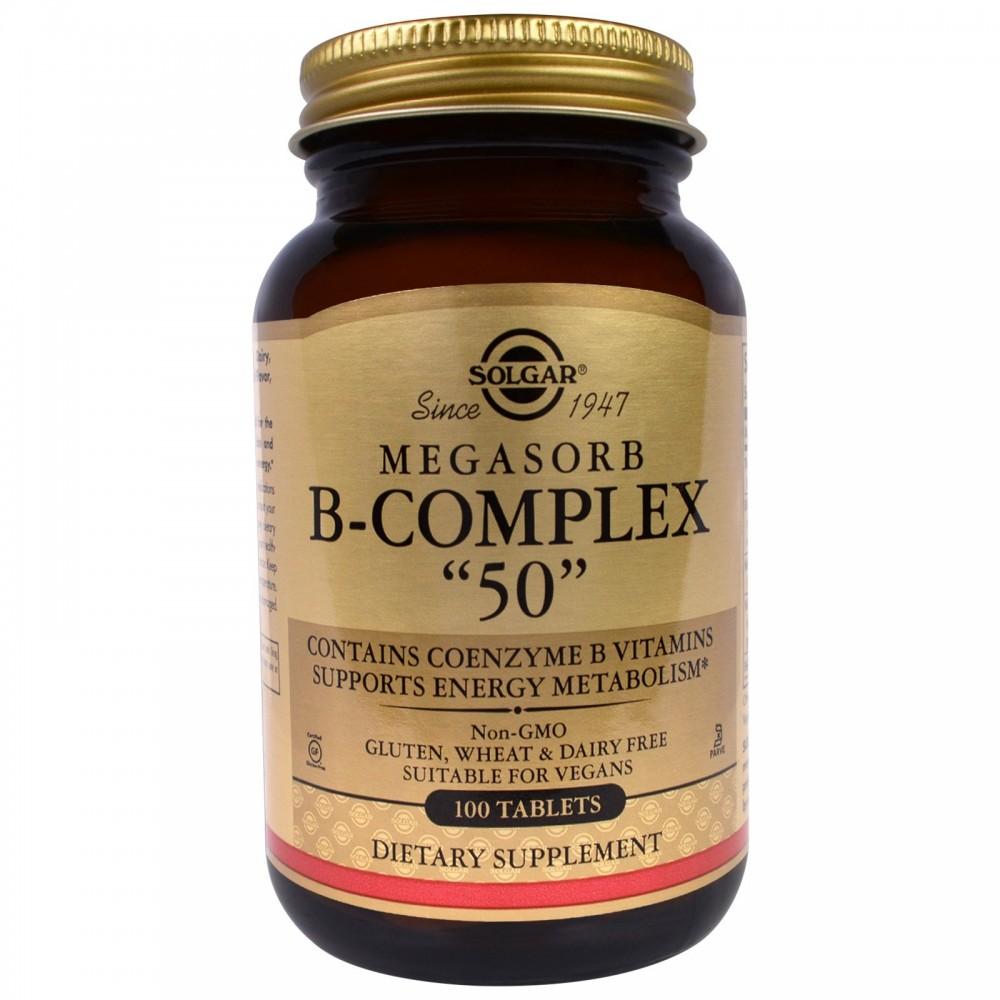 Megasorb B-Complex 50 de Solgar 100 comprimidos