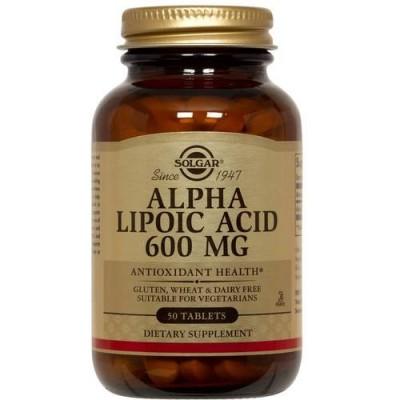 Acido Alfa Lipoico, (alpha lipoic acid) 600 mg, 50 Comprimidos de Solgar SOLGAR SOL-00054 Antioxidantes salud.bio