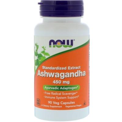 Ashwagandha 450 mg, 90 cápsulas vegetarianas de Now Foods now suplementos NWY-16800 Estados emocionales, ansiedad, estrés, de...