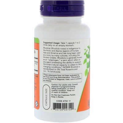 Rhodiola, 500 mg, 60 cápsulas vegetales de Now Foods now suplementos NOW-04754 Estados emocionales, ansiedad, estrés, depresi...