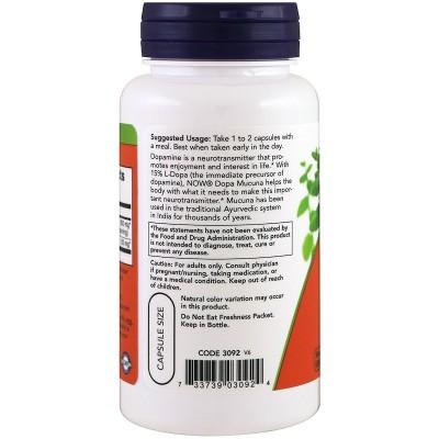 Dopa Mucuna, 90 cápsulas vegetales de Now Foods