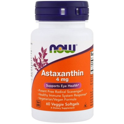 Astaxanthin, 4 mg, 60 Softgels Vegetarianas de Now Foods now suplementos NOW-03251 Antioxidantes salud.bio