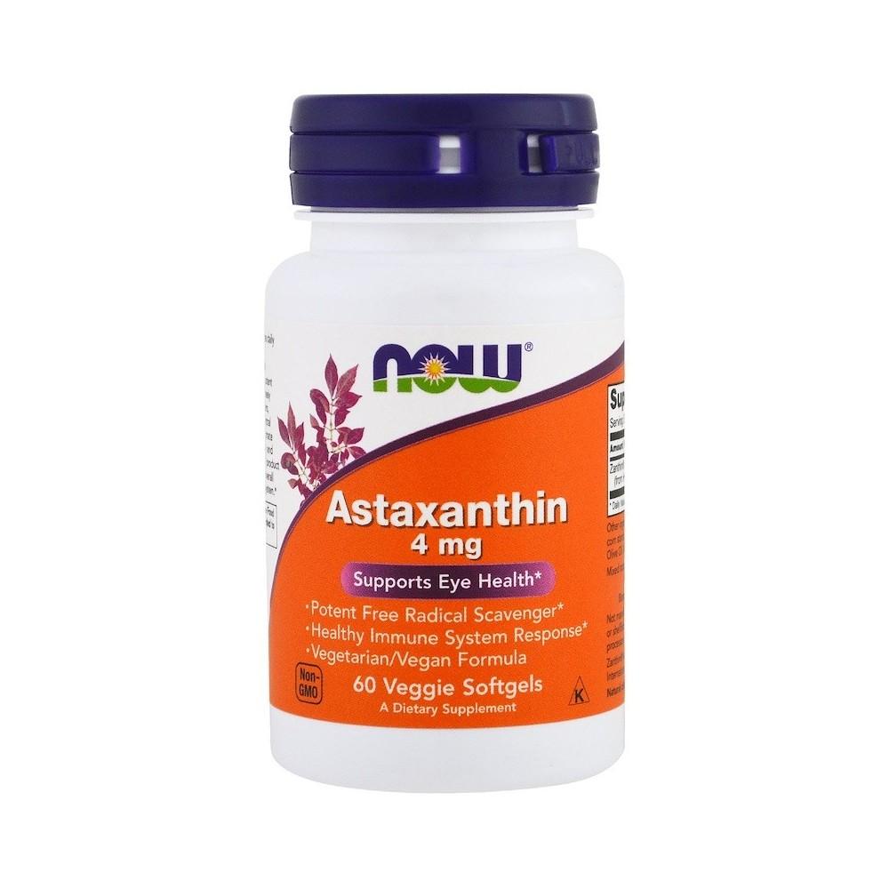Astaxanthin, 4 mg, 60 Softgels Vegetarianas de Now Foods now suplementos NOW-03251 Antioxidantes salud.bio