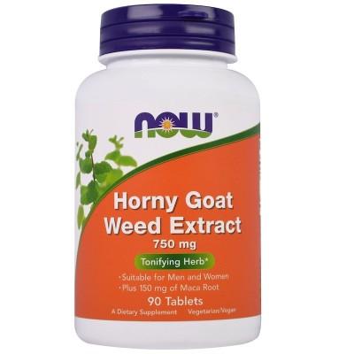 Extracto de hierba de Horny Goat, 750 mg, 90 tabletas de now