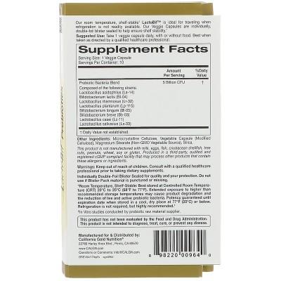 Probióticos LactoBif, 5 Billones CFU, 10 Cápsulas Veggie de California Gold Nutrition California Gold Nutrition NOW-04758 Ayu...