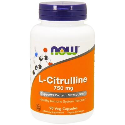 L-Citrullina, 750 mg, 90 cápsulas vegetarianas de Now Foods