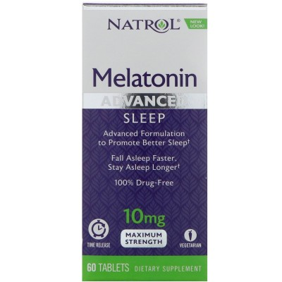 Melatonina, Sueño avanzado, Liberación en el tiempo, 10 mg, 60 tabletas de Natrol