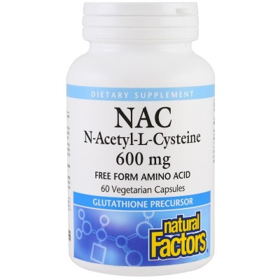 NAC, N-Acetil-L-Cisteína, 600 mg , 60 cápsulas vegetarianas de Natural Factors