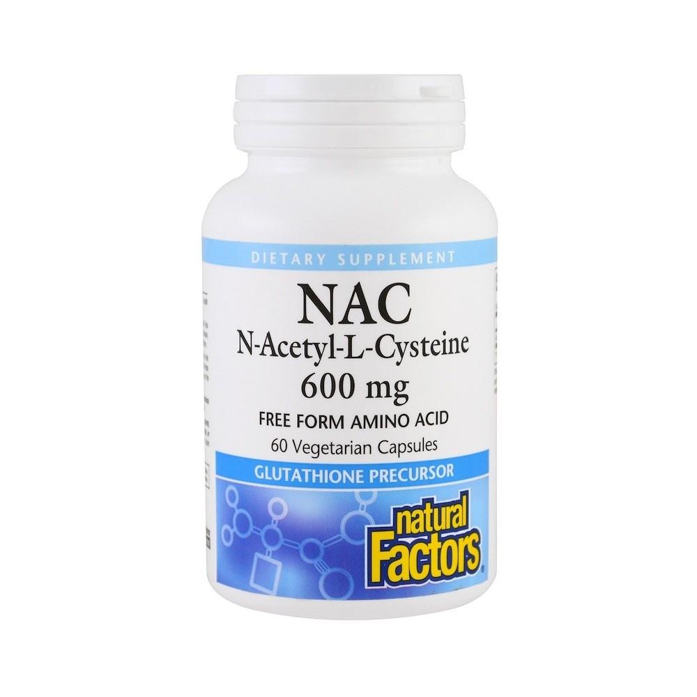 NAC, N-Acetil-L-Cisteína, 600 mg , 60 cápsulas vegetarianas de Natural Factors