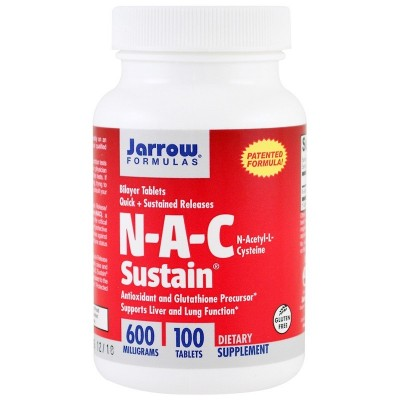 NAC Sustain, N-Acetyl-L-Cysteine, 600 mg, 100 Tabletas de Jarrow Formulas Jarrow Formula JRW-07001 Higado y sistema hepatobil...