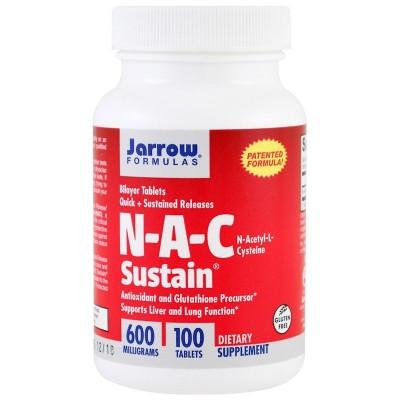 NAC Sustain, N-Acetyl-L-Cysteine, 600 mg, 100 Tabletas de Jarrow Formulas