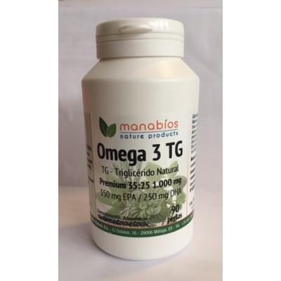Omega 3 TG Premium 1000mg Manabíos Manabios 111632 Ayudas niveles Colesterol y Trigliceridos salud.bio