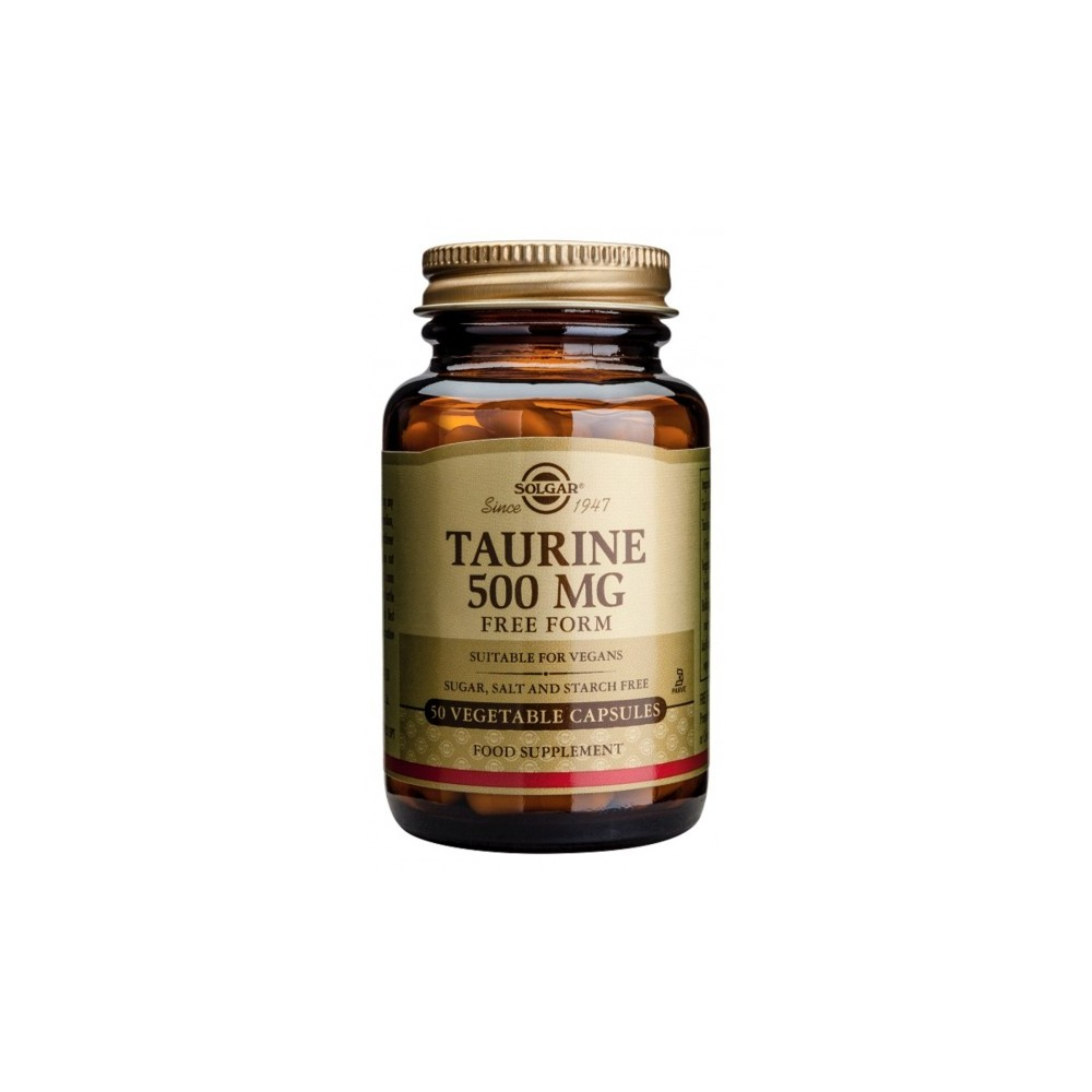Taurina 500 mg. Solgar SOLGAR 012700 Cansancio, fatiga, astenia primaveral salud.bio