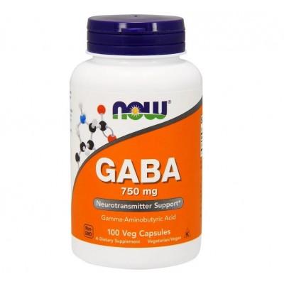 GABA 750mg 100 Capsulas de Now Foods now suplementos NOW-00089 Estados emocionales, ansiedad, estrés, depresión, relax salud.bio
