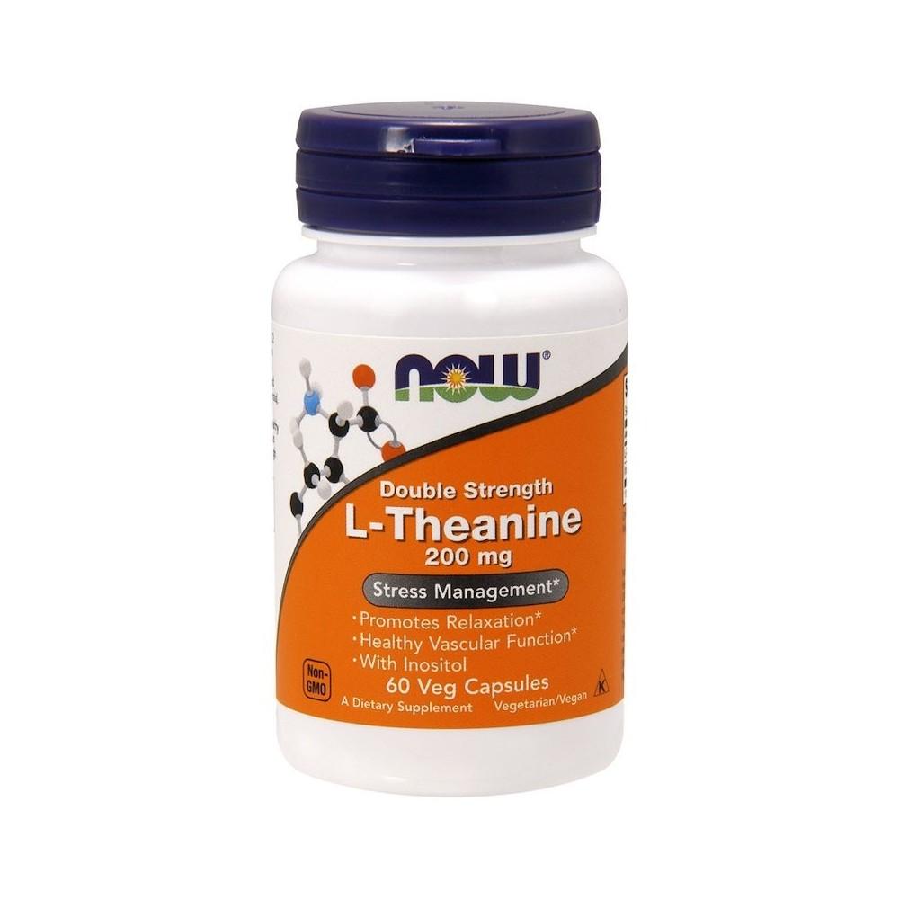 L-Theanine, Double Strength, 200 mg, cápsulas vegetarianas de Now Foods now suplementos NOW-00148 Aminoácidos salud.bio