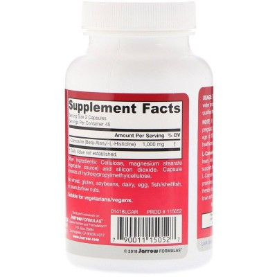 L-Carnosine, Beta-Alanyl-L-Histidine, 500 mg, 90 cápsulas de Jarrow Formulas Jarrow Formula JRW-15052 Complementos Alimentici...