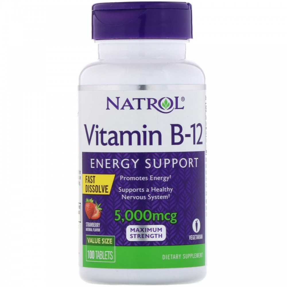 Vitamin B-12, Fast Dissolve, Maximum Strength, Strawberry, 5,000 mcg, 100 Tablets de Natrol Natrol NTL-06672 Vitaminas y Mine...