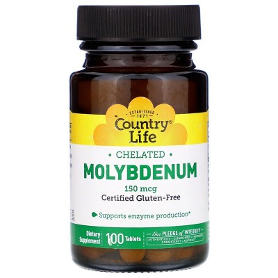 Molibdeno, quelatado, 150 mcg, 100 tabletas de Country Life  CLF-02965 Suplementos Minerales  salud.bio
