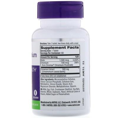 Canela, cromo y biotina, 60 comprimidos de Natrol NATURE´S BOUNTY NTL-04898 Ayuda Glucemia y Diabetes salud.bio