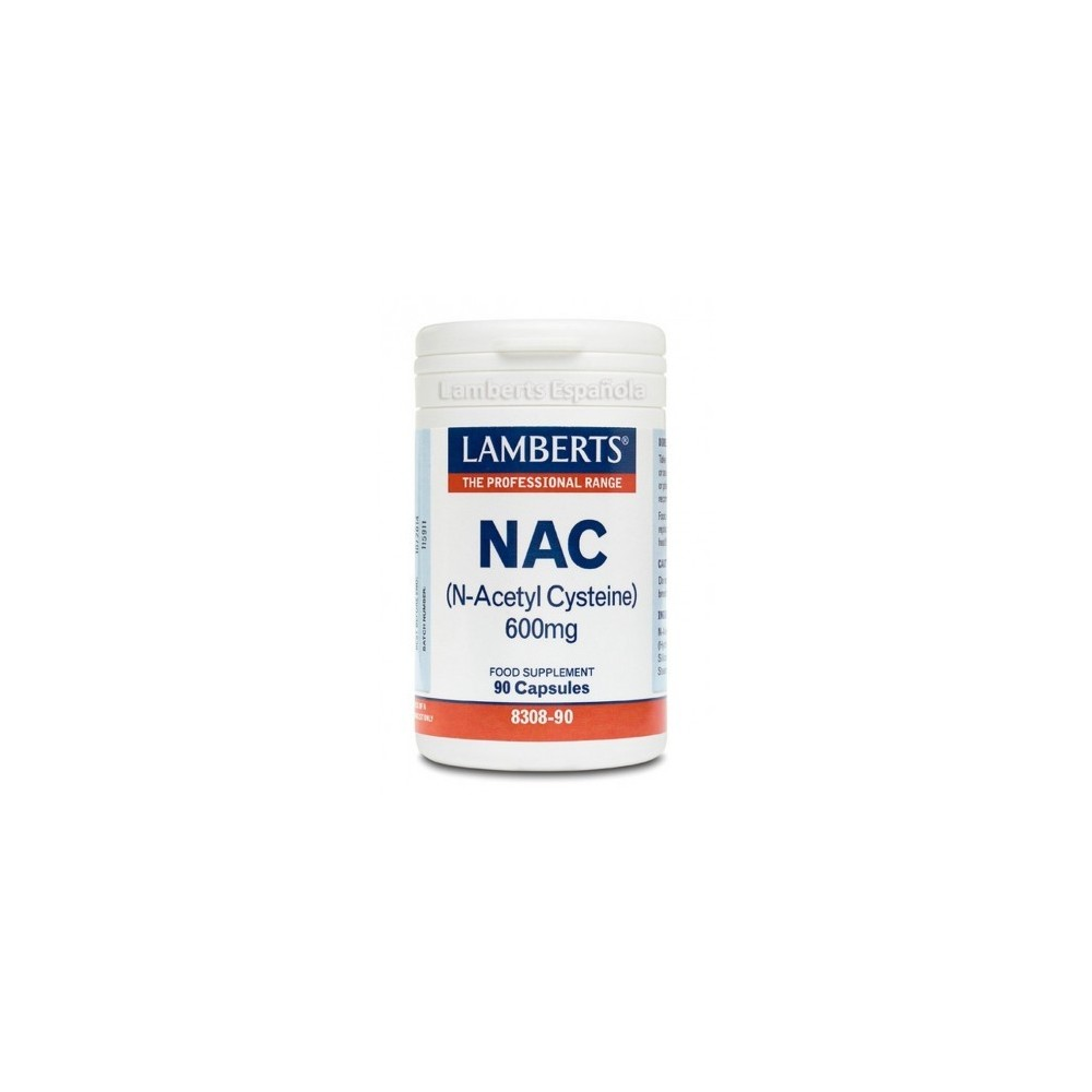 NAC N-Acetyl-L-Cysteine, 600 mg, 90 cápsulas de Lamberts Lamberts Española S.L. 5055148411053 Higado y sistema hepatobiliar s...