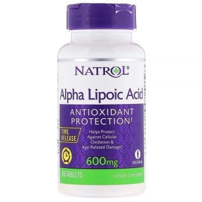 Acido Alfa Lipoico, liberación prolongada, 600mg 45 Tabletas, de Natrol Natrol NTL-05229 Complementos Alimenticios (Suplement...
