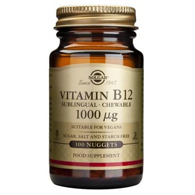 Vitamina B12 1.000 μg (1.000 mcg) Cianocobalamina masticable de Solgar SOLGAR  Inicio salud.bio