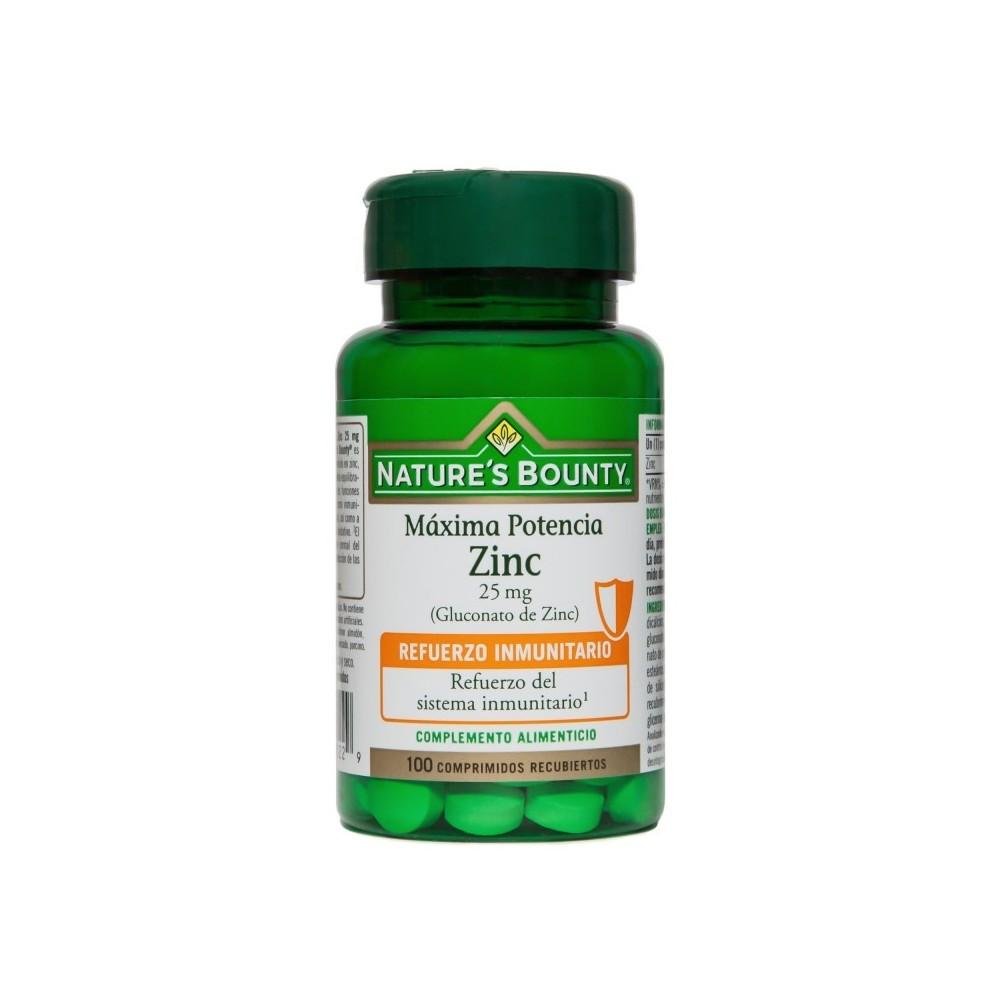 Zinc Máxima Potencia 25 mg de Nature´s Bounty (100 Comprimidos) NATURE´S BOUNTY 03629 Inicio salud.bio