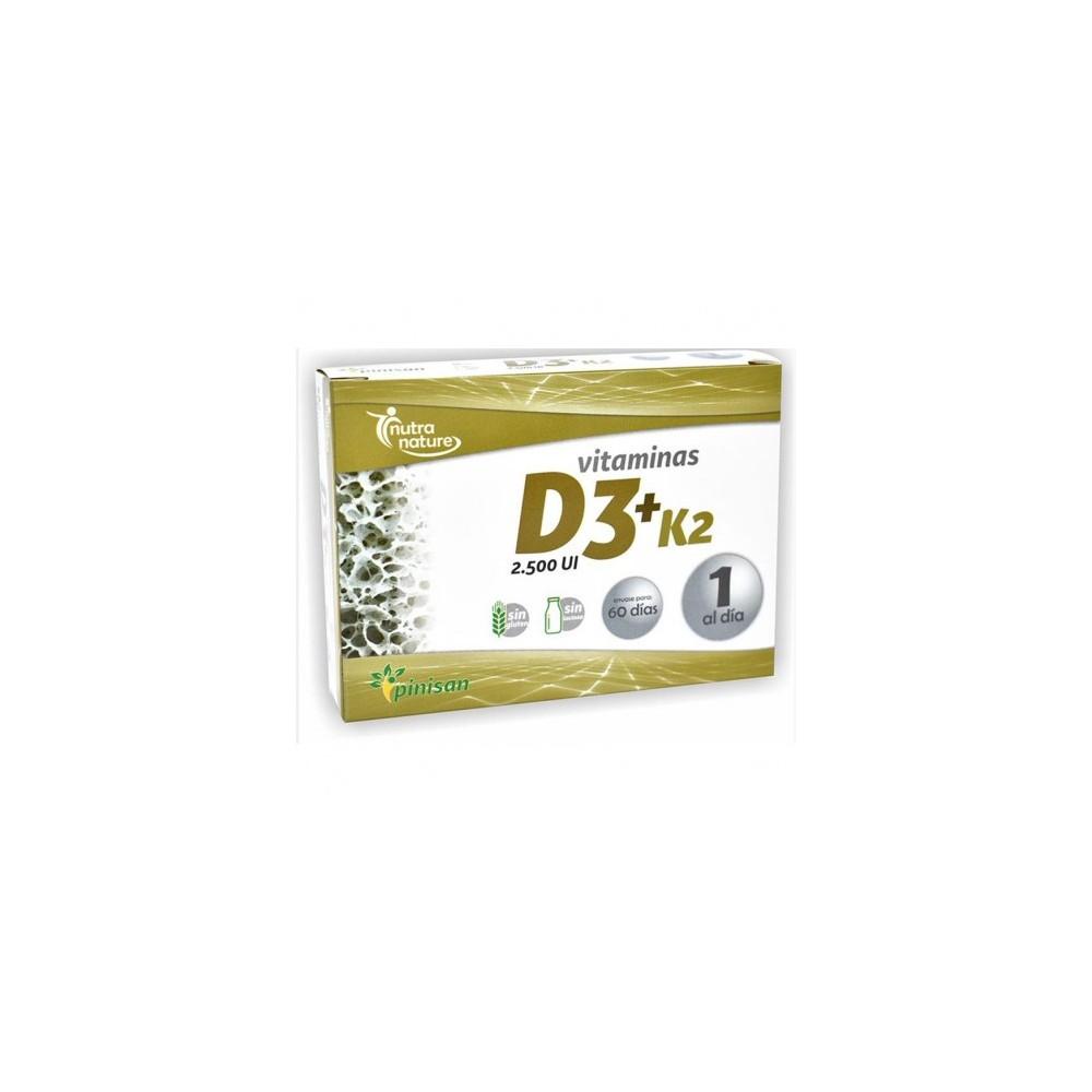Vitaminas D3 2.500iu y K2 100pg. 60 Cápsulas de Pinisan Pinisan 106.00210 Articulaciones y huesos salud.bio