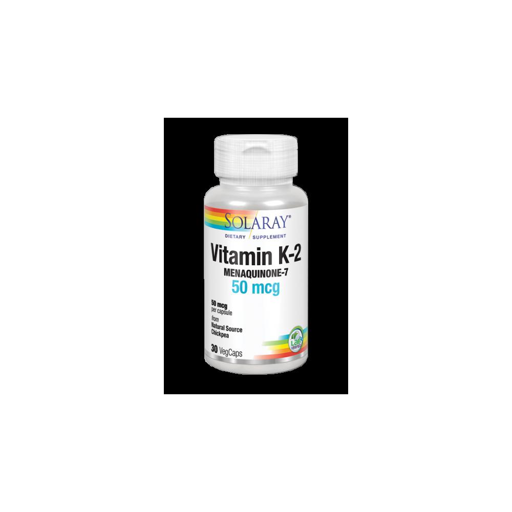 Vitamina K2 (Menaquinone-7)-30 VegCaps. Apto para veganos de Solaray SOLARAY 36153 Articulaciones, Huesos, Tendones y Musculo...