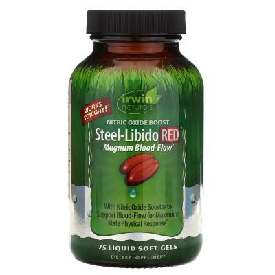 Steel Libido ROJO, 75 Pastillas Blandas de Gel Líquidas de Irwin Naturals Irwin Naturals IRW-57860 Salud Sexual y Fertilidad ...