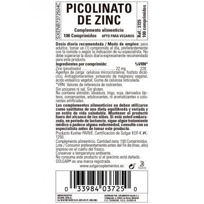 Picolinato de Zinc 22 mg 100 tabletas de Solgar SOLGAR 103725 Sistema inmunitario salud.bio