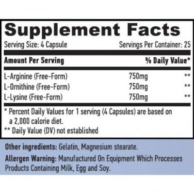 L-Arginina L-ornitina L-lisina 100 Caps. de Haya labs Haya Labs LLC 15680 Aminoácidos salud.bio