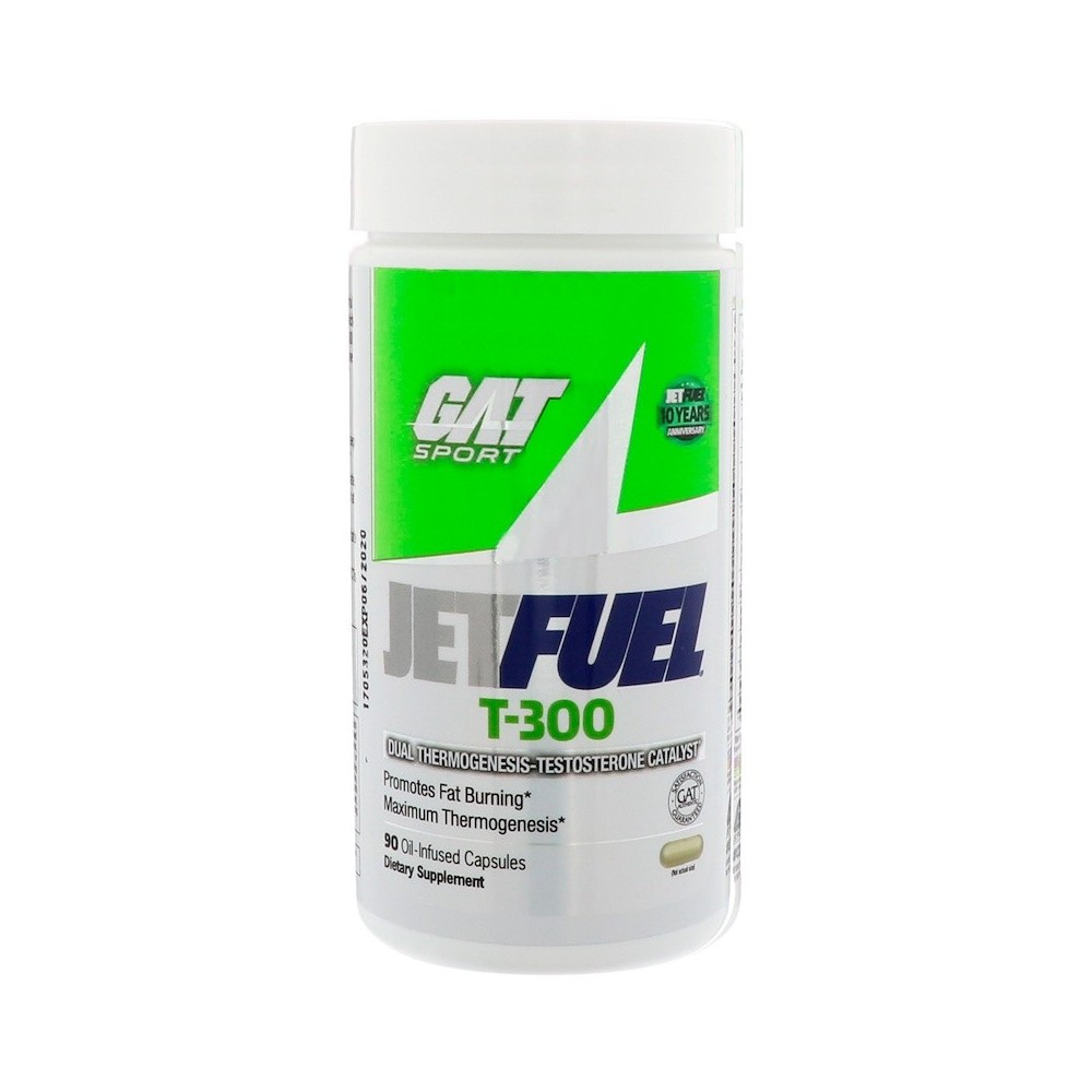 JetFUEL T-300, catalizador doble termogénesis-testosterona, 90 cápsulas impregnadas de aceite. de GAT Gat sport GAT-00212 Ini...