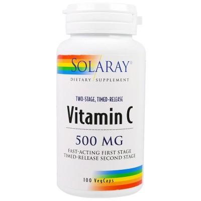 Vitamina C, 500 mg, (Rose Hips, Acerola Cherry) 100 cápsulas vegetarianas de Solaray SOLARAY SOR-04400 Vitamina C salud.bio