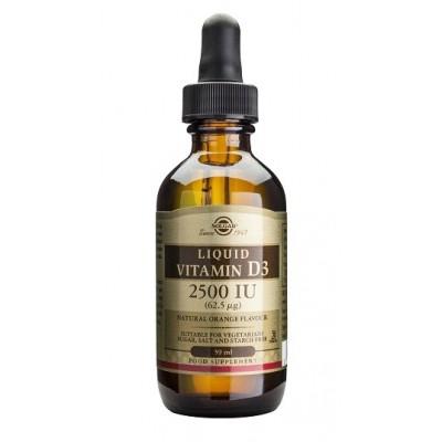 Vitamina D3 Líquida 2500 UI (62,5 μg) y 5000 UI (125 μg) de Solgar SOLGAR 0332048 Vitamina A y D salud.bio