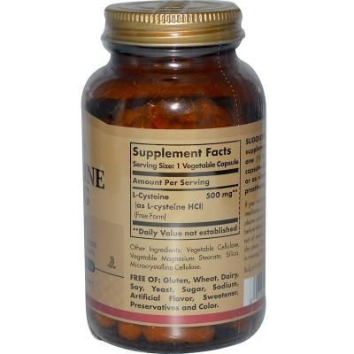 L-cisteína, 500 mg, 90 cápsulas vegetales de Solgar SOLGAR SOL-00962 Aminoácidos salud.bio