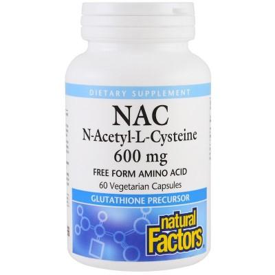 NAC, N-Acetil-L-Cisteína, 600 mg , 60 cápsulas vegetarianas de Natural Factors Natural Factors NFS-02818 Aminoácidos salud.bio