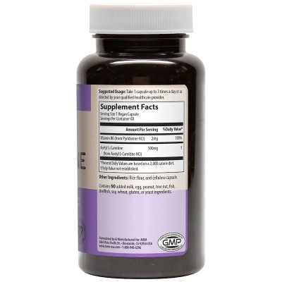 Acetil L-Carnitina, 500 mg, 60 cápsulas vegatales de MRM MRM MRM-85003 Aminoácidos salud.bio