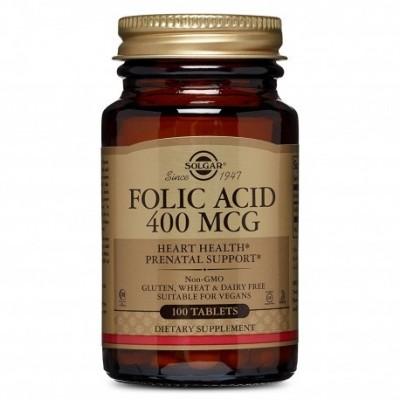 Folacín (Ácido Fólico) 400 μg 100 Comp. de Solgar SOLGAR 051080 Embarazo y lactáncia salud.bio